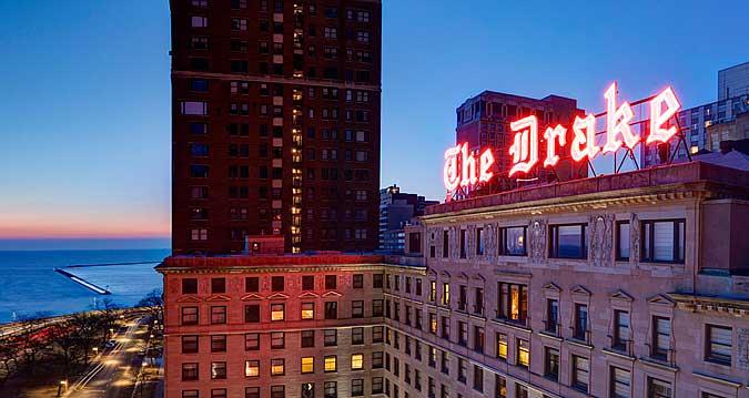 The Drake Hotel at dusk exterior