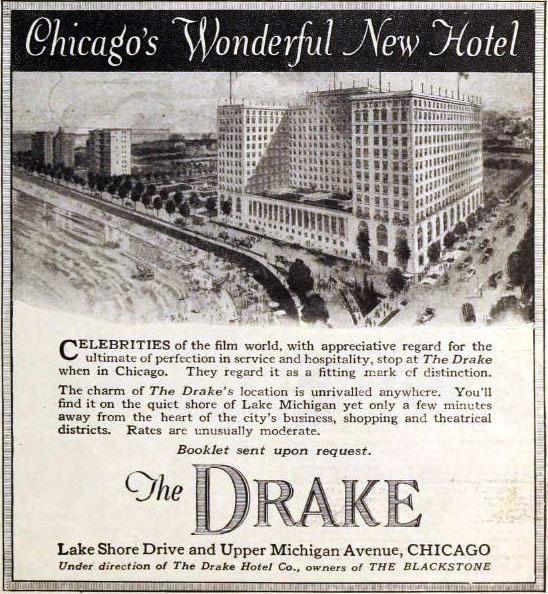 Drake Hotel Chicago 1921 ad