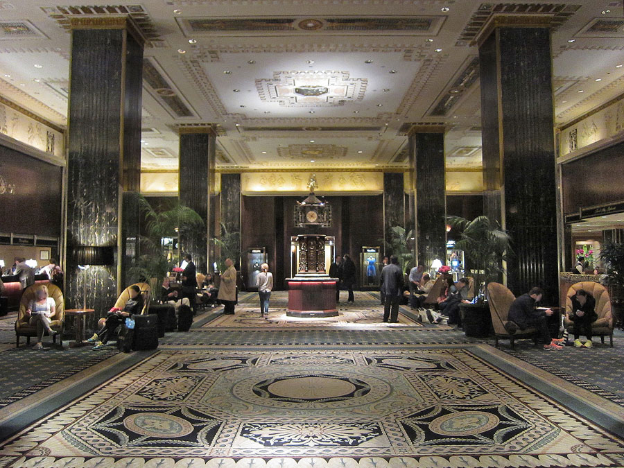 Lobby of Waldorf Astoria Hotel in New York City