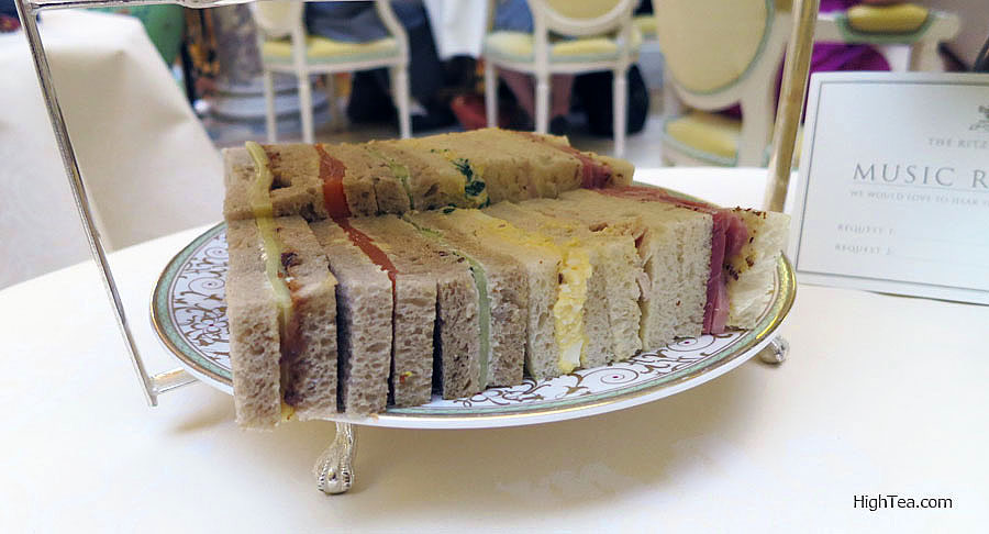 Tea sandwiches at The London Ritz Afternoon Tea in the Palm Court