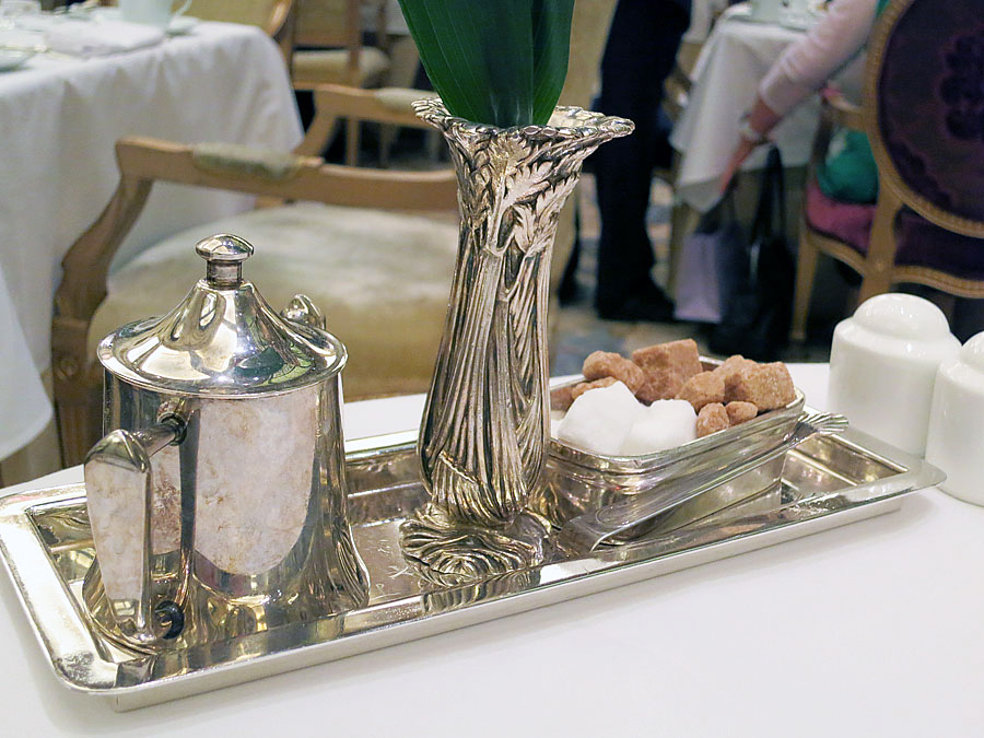 Silver tea service for afternoon tea at The Plaza Hotel New York