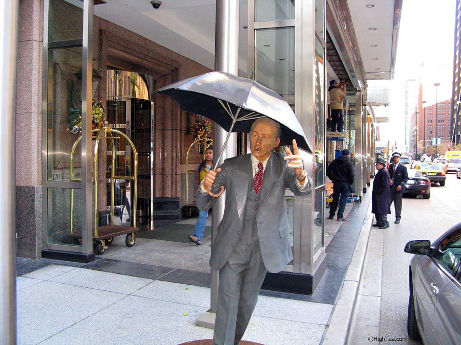 Allow Me sculpture by J Seward Johnson Jr Four Seasons Hotel Chicago