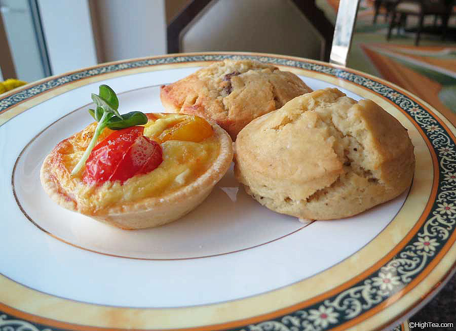 summer tomato boursin quiche and raisin scone at The Peninsula Chicago afternoon tea