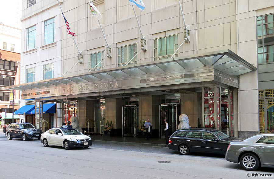 Front entrance Peninsula Hotel Chicago on E Superior St