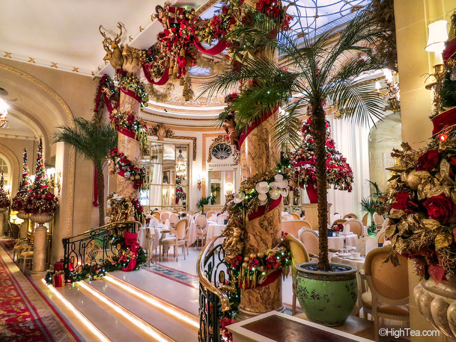 Ritz Hotel London Palm Court Christmas decorations afternoon tea high tea