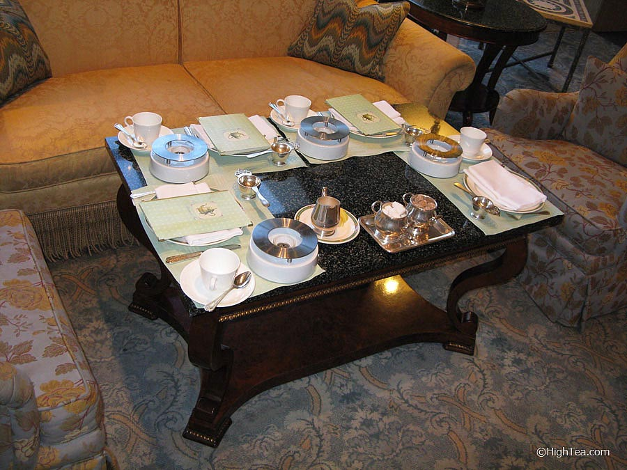 Table setting for afternoon tea at Ritz Carlton Chicago Hotel